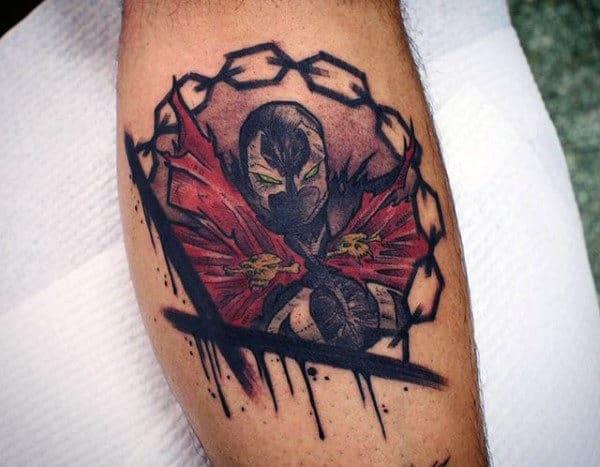Leg Calf Chains Spawn Male Watercolor Tattoo