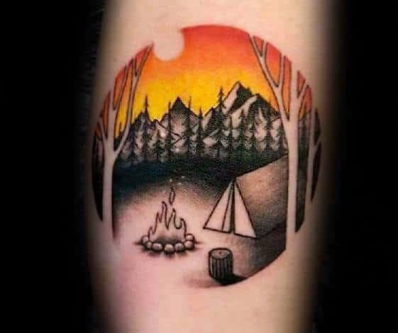 Leg Calf Circle Orange Sunset Tent Male Tattoo Ideas