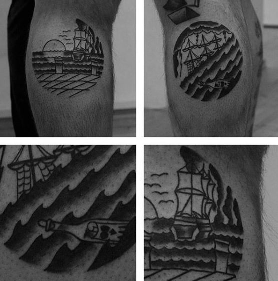 Leg Calf Circle Sinking Ship Tattoo Designs For Guys