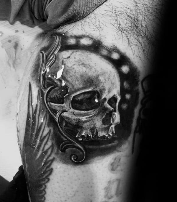Leg Calf Cool Filigree Tattoo On Male With Skull Design