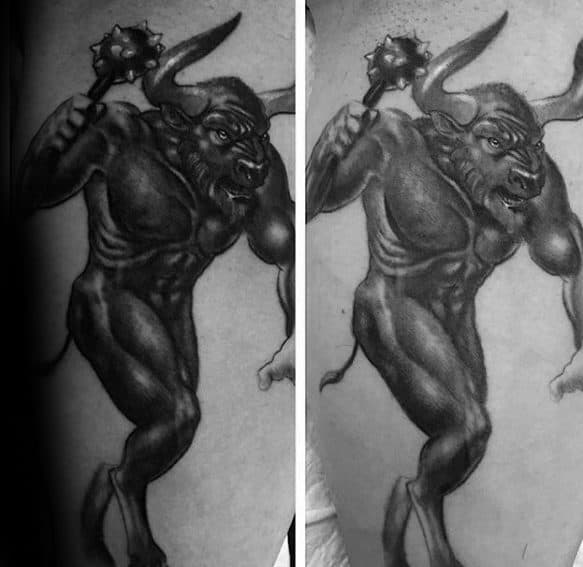 Leg Calf Cool Male Minotaur Tattoo Designs