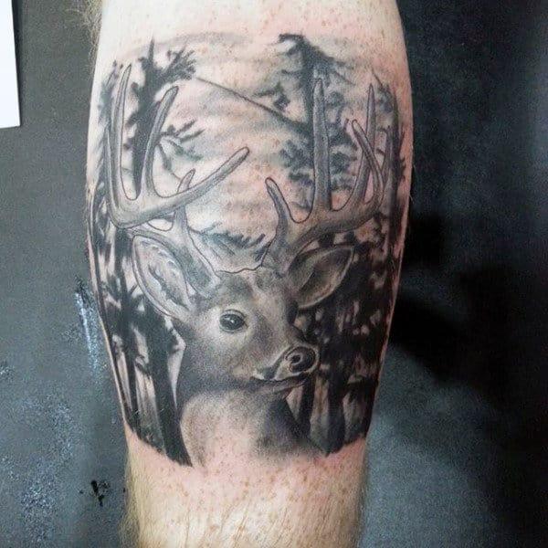 Leg Calf Deer Tattoo Design Men