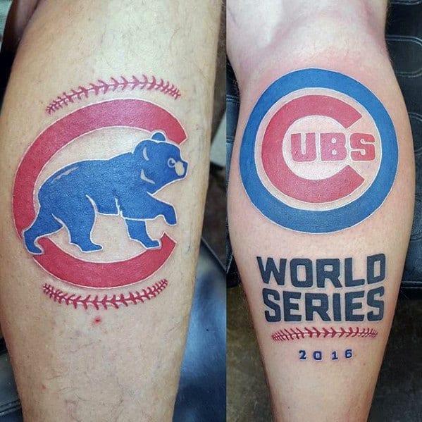 Leg Calf Distinctive Male Chicago Cubs Tattoo Designs