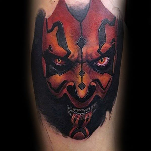 Leg Calf Distinctive Male Darth Maul Tattoo Designs