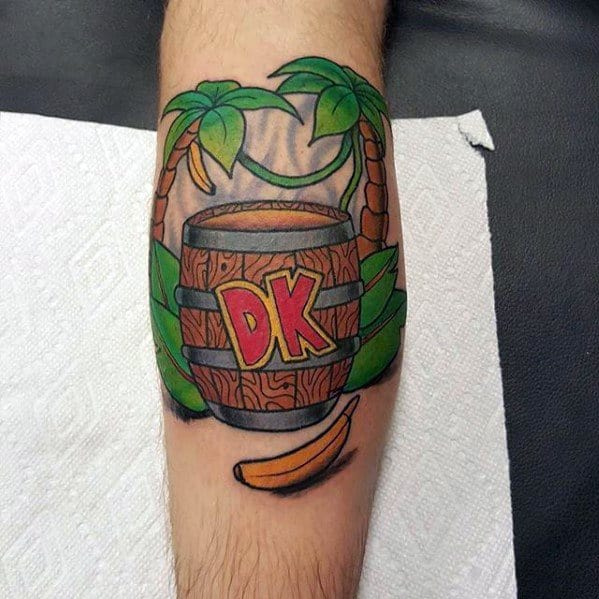 Leg Calf Donkey Kong Tattoo Designs For Guys