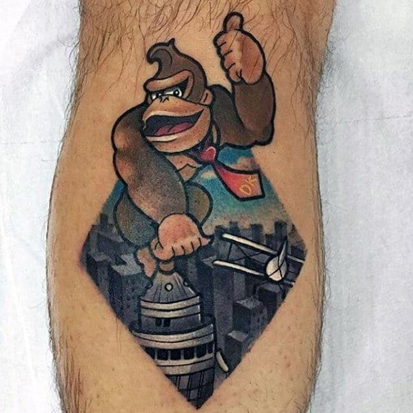 Leg Calf Donkey Kong Themed Godzilla Guys Tattoo Ideas