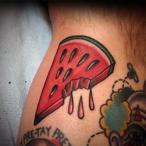 Leg Calf Dripping Watermelon Guys Tattoo Ideas