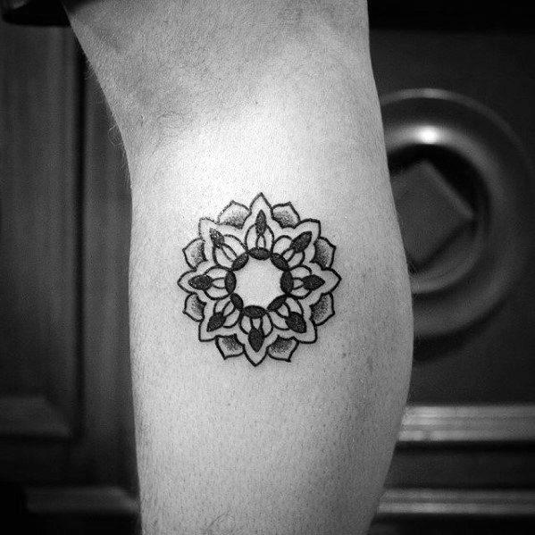 Leg Calf Flower Mens Quarter Sized Tattoo Design Ideas