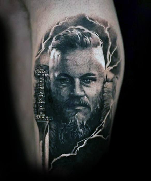 Leg Calf Gentlemens Ragnar Tattoo Ideas