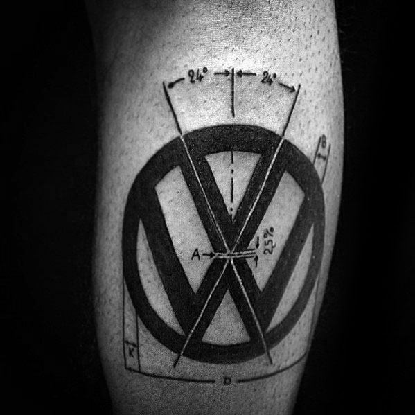 Leg Calf Geometric Guys Volkswagen Wv Tattoos