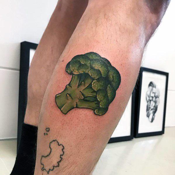 Leg Calf Green Cool Broccoli Tattoos For Men