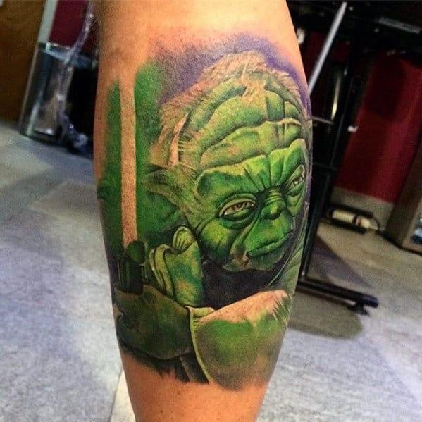 Leg Calf Green Watercolor Male Yoda Tattoo Ideas