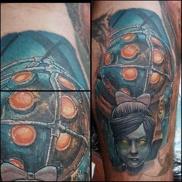 Leg Calf Guys Bioshock Video Game Tattoo