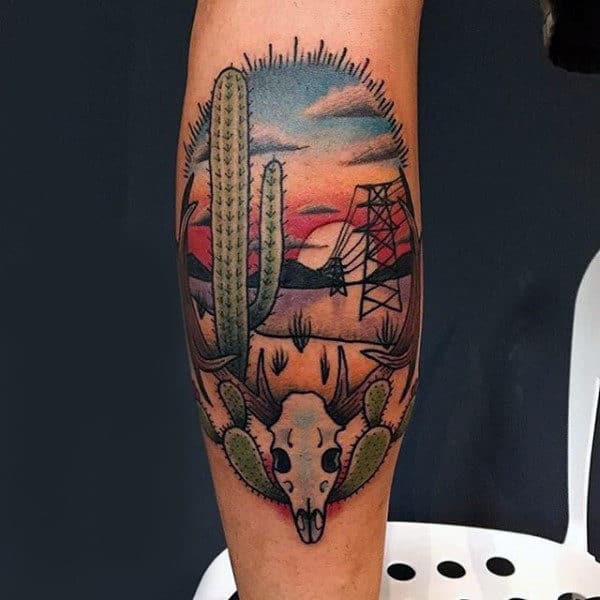 Leg Calf Guys Cactus Ranch Themed Tattoo Design