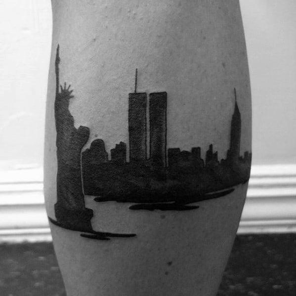 Leg Calf Guys New York Skyline Tattoo Designs