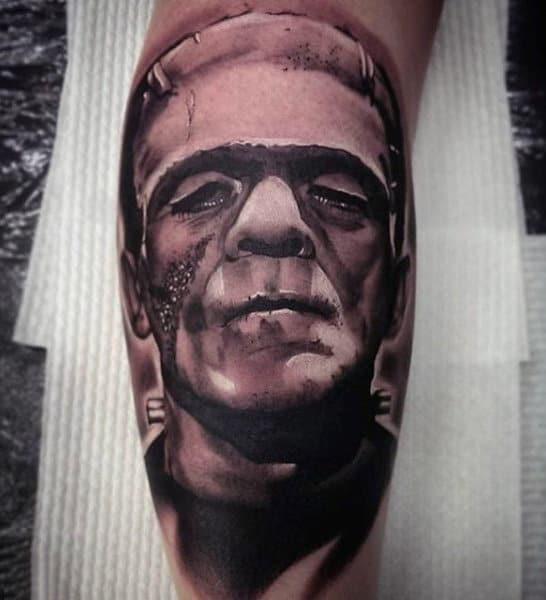 Leg Calf Guys Sepia Toned Portrait Of Mans Face Realism Tattoos