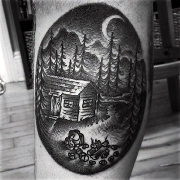 Leg Calf Guys Tattoo Ideas Camping With Cabin In The Woods Designs