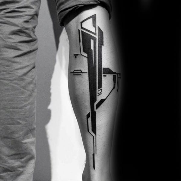 Leg Calf Guys Unique Abstract Tattoo Designs