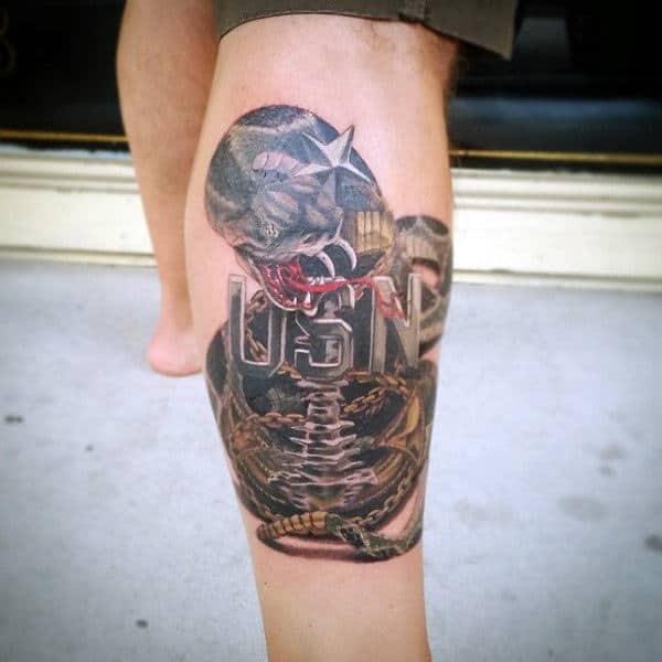 Leg Calf Guys Usn Navy Anchor Tattoo