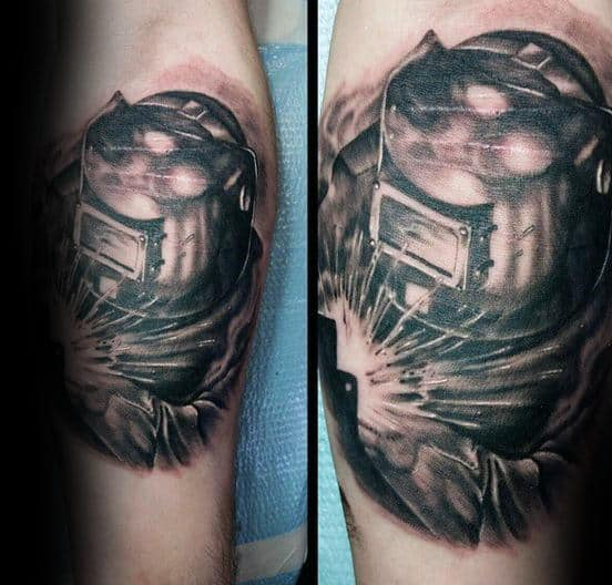 Leg Calf Guys Welding Tattoo Ideas