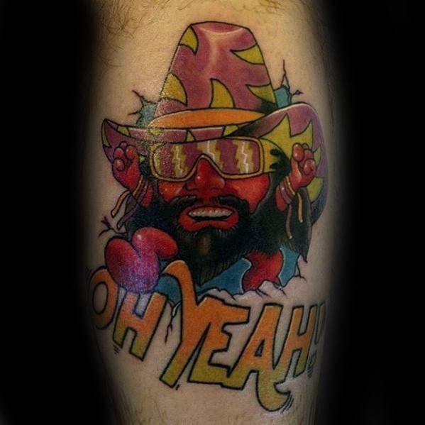 Leg Calf Guys Wrestling Tattoo Deisgns