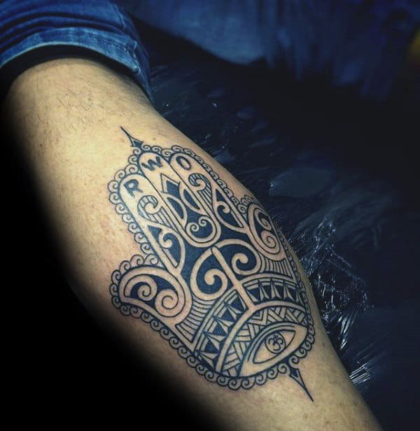 Leg Calf Hamsa Tattoo Design On Man