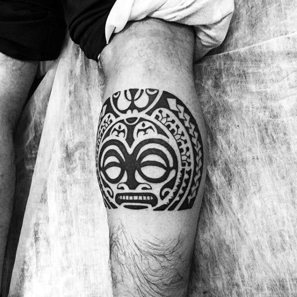 Leg Calf Hawaiian Tribal Sun Mens Great Tattoo Ideas