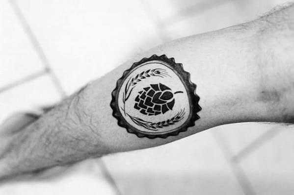 Leg Calf Hops Guys Beer Tattoos