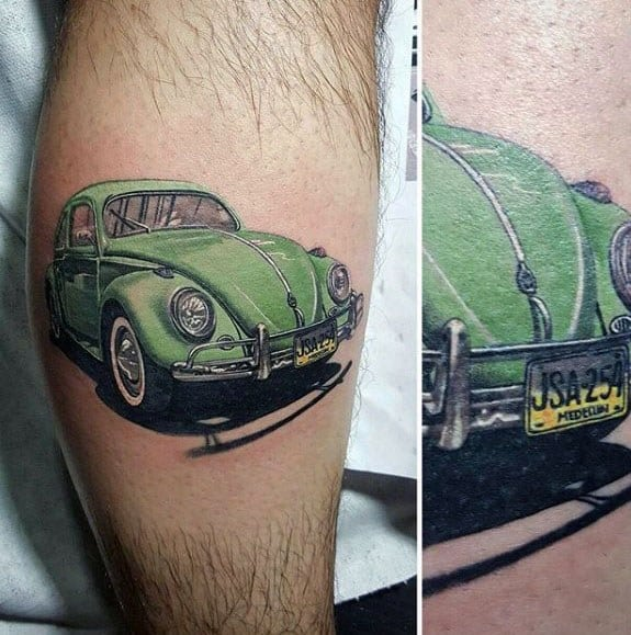 Leg Calf Incredible Green Volkswagen Wv Buggy Tattoos For Men