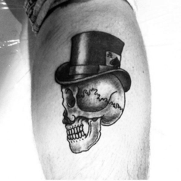 Leg Calf Incredible Top Hat Tattoos For Men