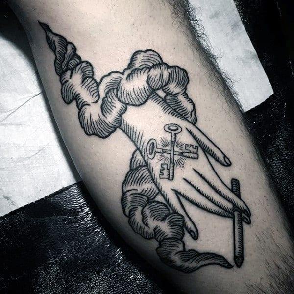 Leg Calf Key Tattoo Ideas For Guys