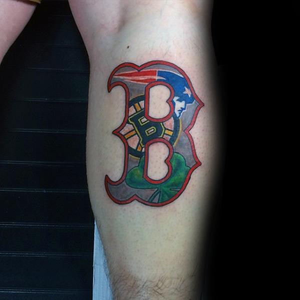 Leg Calf Logo Gentleman With Boston Red Sox Tattoo