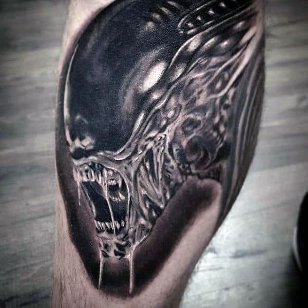 Leg Calf Male Alien Shaded Tattoos