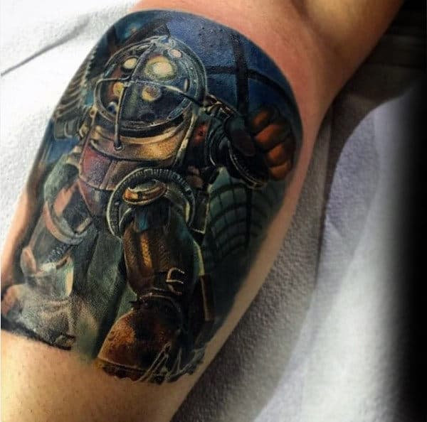 Leg Calf Male Bioshock Tattoo Ideas