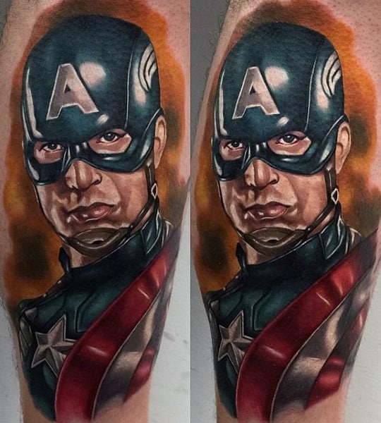 Leg Calf Male Captain America Tattoo Ideas