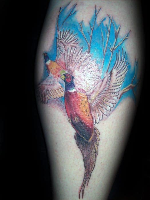 Leg Calf Male Cool Flying Pheasant Birds Tattoo Ideas