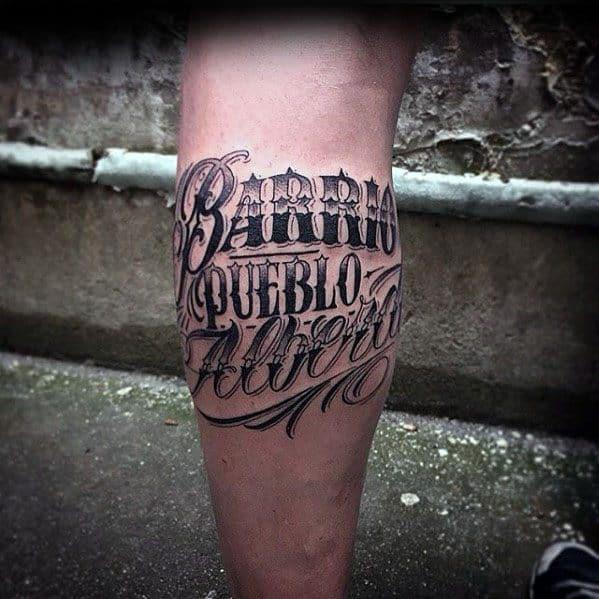Leg Calf Male Cool Typography Tattoo Ideas