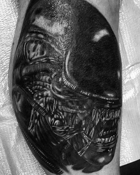Leg Calf Male Cool Xenomorph Tattoo Ideas