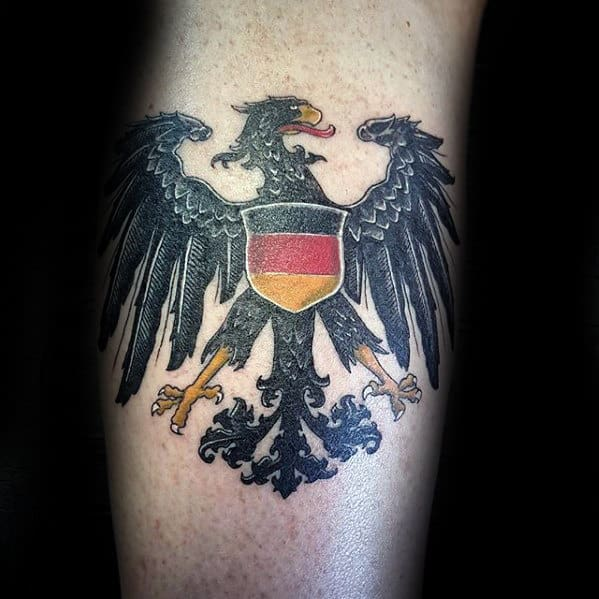 Leg Calf Male German Eagle Tattoos