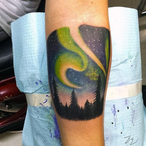 Leg Calf Male Northern Lights Tattoo