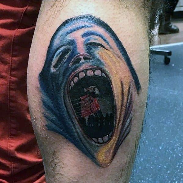 Leg Calf Male Pink Floyd Tattoo Design Ideas