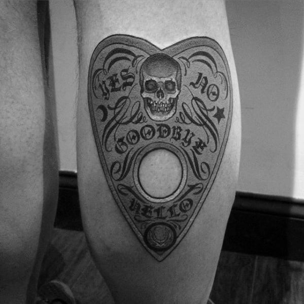 Leg Calf Male Planchette Tattoo Ideas