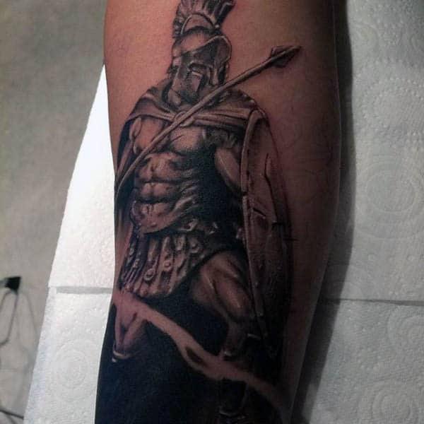 Leg Calf Male Spear Spartan Tattoo Ideas