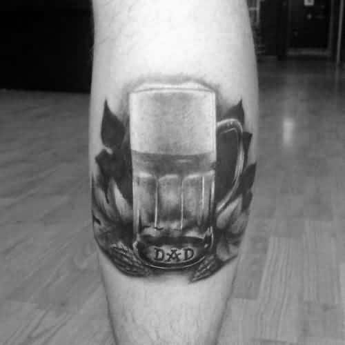 Leg Calf Male Tattoo With Beer Design