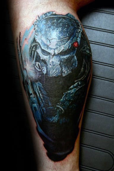 Leg Calf Male With Predator Tattoo Design