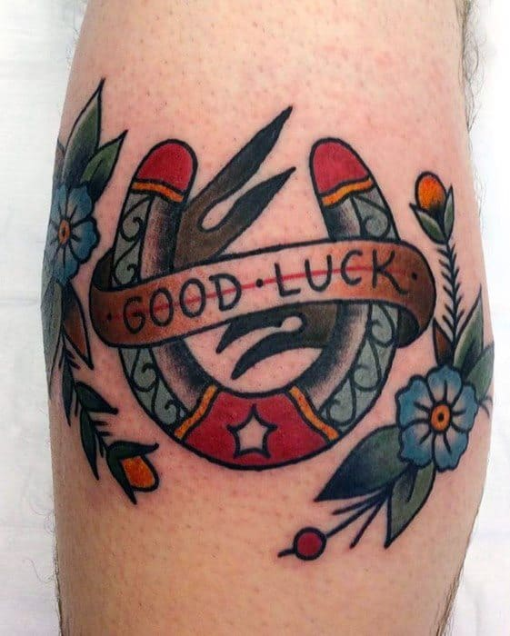 Leg Calf Manly Good Luck Tattoo Design Ideas For Men