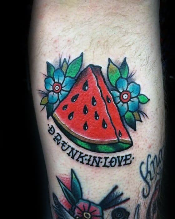 Leg Calf Manly Watermelon Tattoo Design Ideas For Men