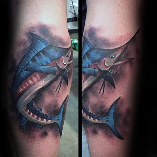 Leg Calf Marlin Tattoo Design On Man