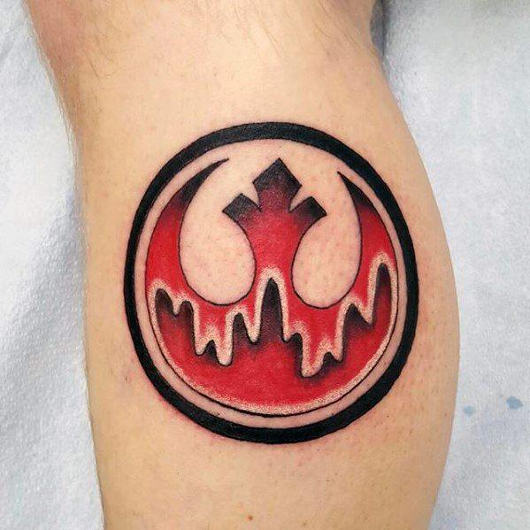 Leg Calf Mens Cool Rebel Alliance Tattoo Ideas