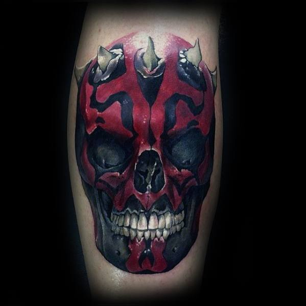 Leg Calf Mens Darth Maul Tattoo Design Ideas
